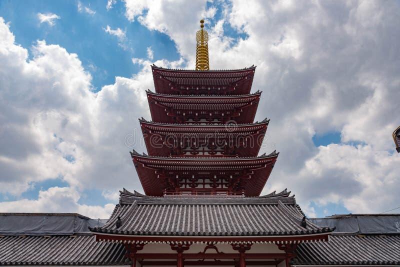 Sikt av Sensoji-ji, tempel i Asakusa, Tokyo, Japan arkivbild