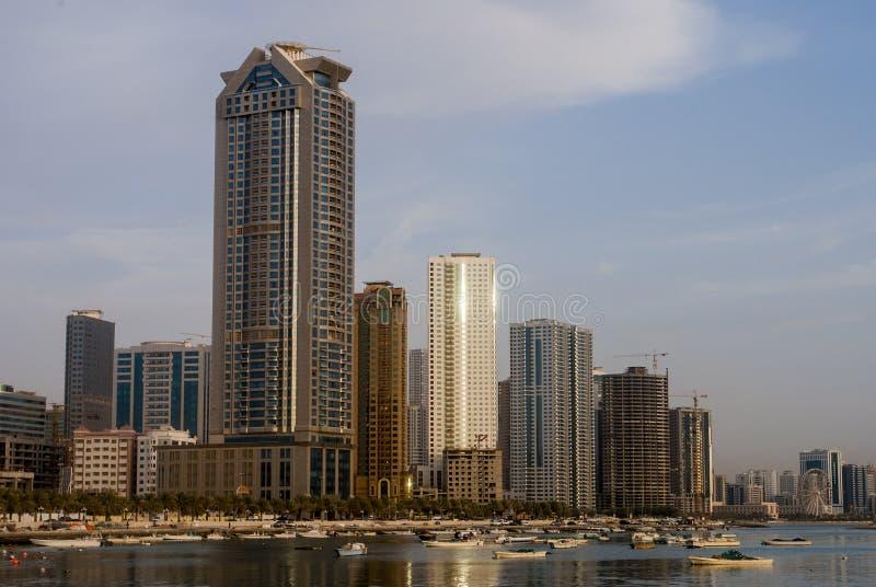 Sikt av Sharjah, Förenade Arabemiraten arkivfoto