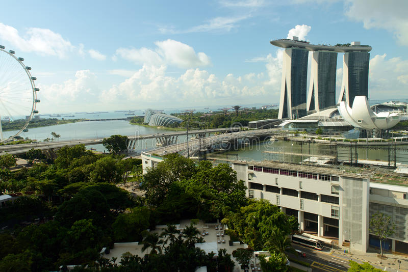 Sikt av Singapore cityscape royaltyfri foto