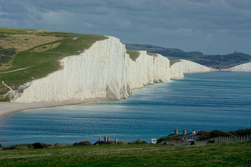 Sikt av sju systerkritaklippor, Sussex UK royaltyfria foton