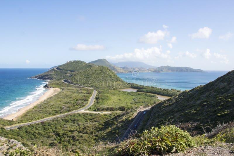 Sikt av St Kitts och Nevis arkivbilder