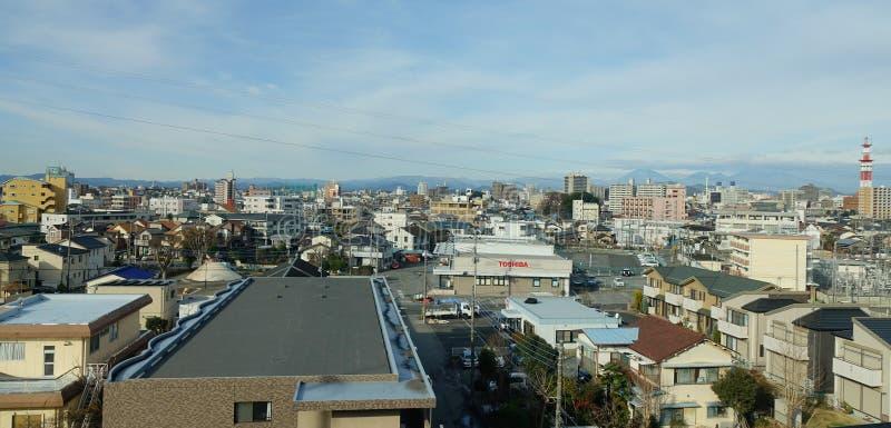 Sikt av staden i Nagano, Japan arkivfoto