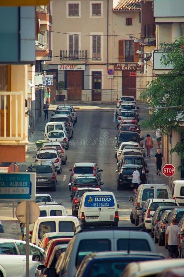 Sikt av staden av incaen som lokaliseras i mitten av ön av Mallorca fotografering för bildbyråer