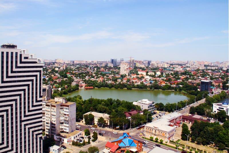 Sikt av staden av Krasnodar fotografering för bildbyråer