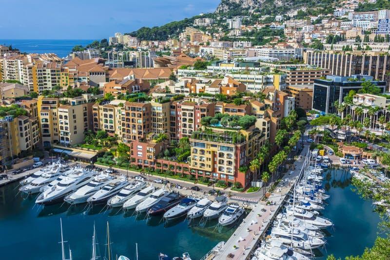 Sikt av staden av Monaco Franska riviera royaltyfri fotografi