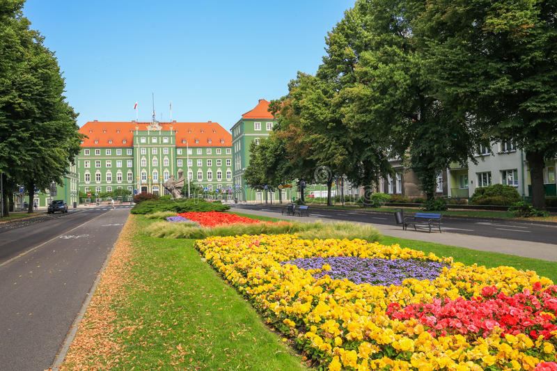 Sikt av stadshuset i Szczecin/Polen arkivfoto