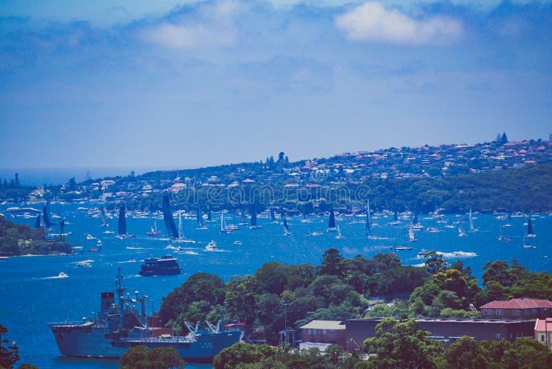 Sikt av Sydney Harbour, närbildskott av kusten och havsdurinen royaltyfria bilder