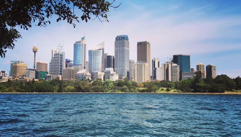 Sikt av Sydney& x27; s-skyskrapor arkivfoton
