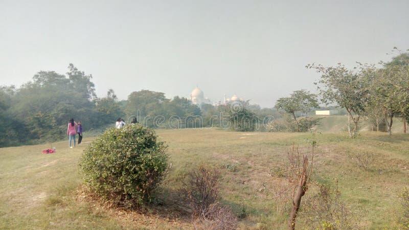 Sikt av Taj Mahal från Taj Nature Walk royaltyfri bild