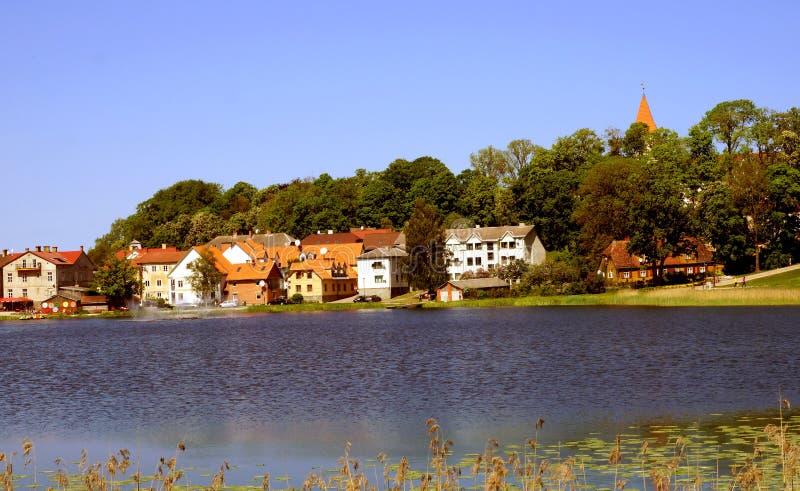 Sikt av Talsi, Lettland i vår royaltyfri foto
