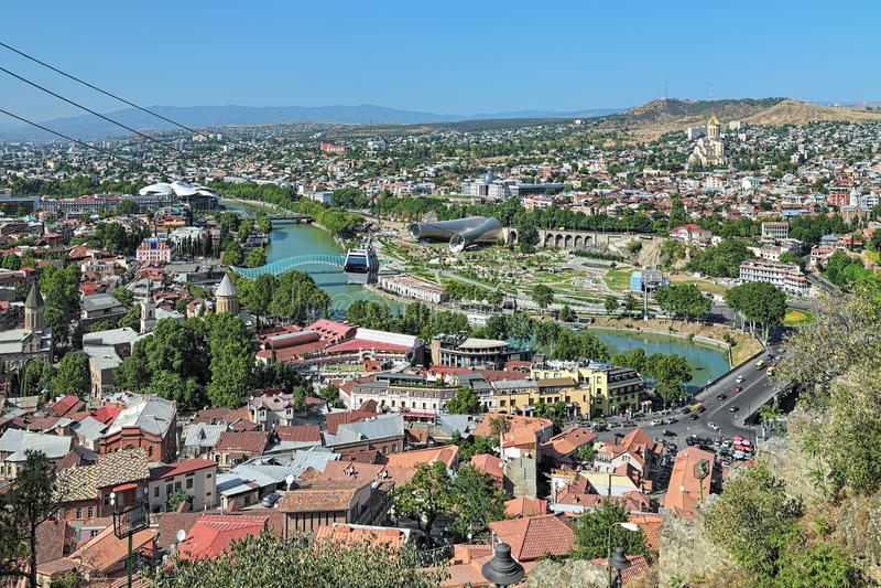 Sikt av Tbilisi, Georgia arkivfoton