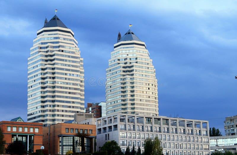 Sikt av tornet - symbol av staden Dnepr & x28; Dnepropetrovsk& x29; , Ukraina royaltyfria foton