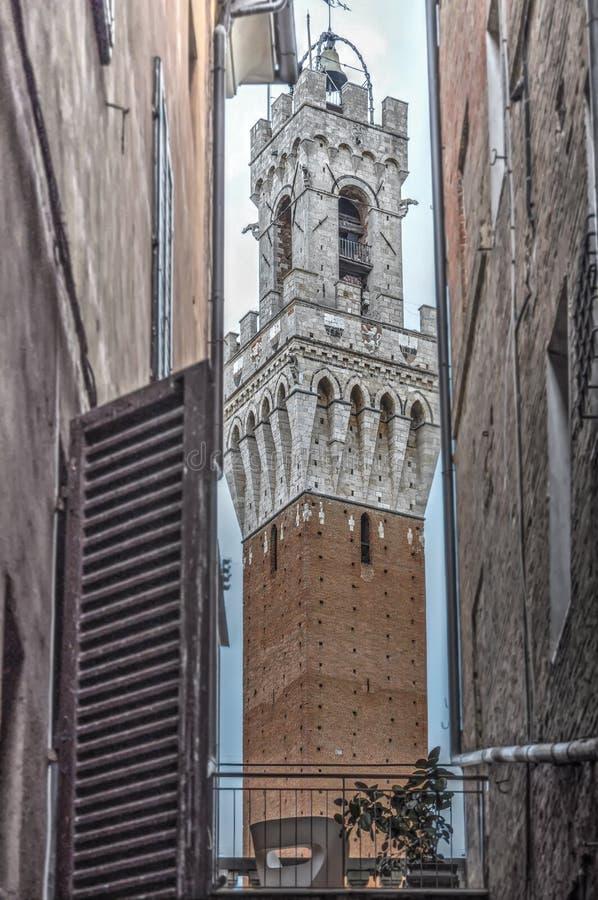 Sikt av Torre del Mangia royaltyfri foto