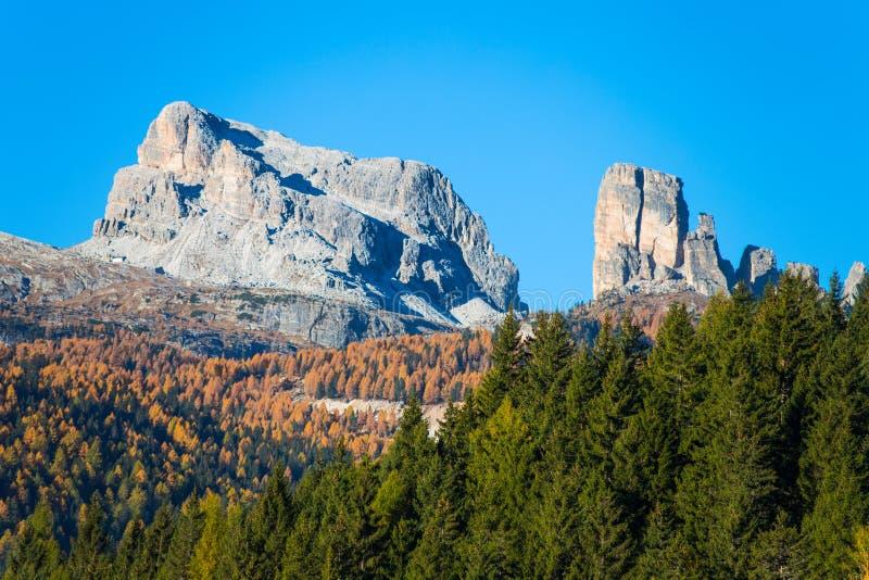 Sikt av 5 torriberg på bakgrunden som ses från det Falzarego passerandet i ett höstlandskap i Dolomites, Italien Berg gran tr arkivbilder