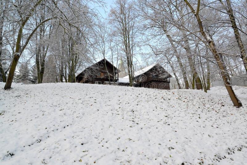Sikt av träjaktlåset i Centralet Park efter den första snön arkivbild