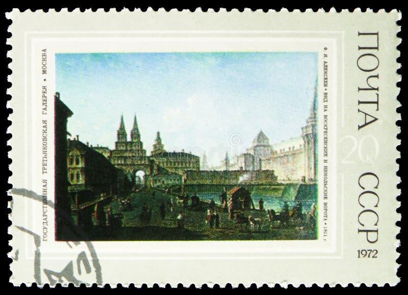 Sikt av uppståndelsen och de Nikolsky portarna, 1811, F Ja Alekseev ryska målningar - serie 1972, circa 1972 royaltyfri fotografi