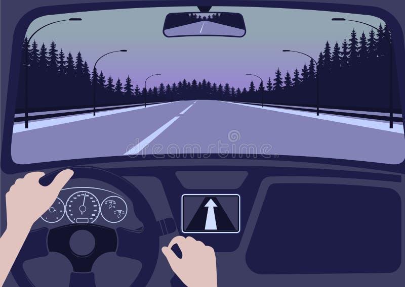 Sikt av vägen från den inre vektorillustrationen för bil stock illustrationer