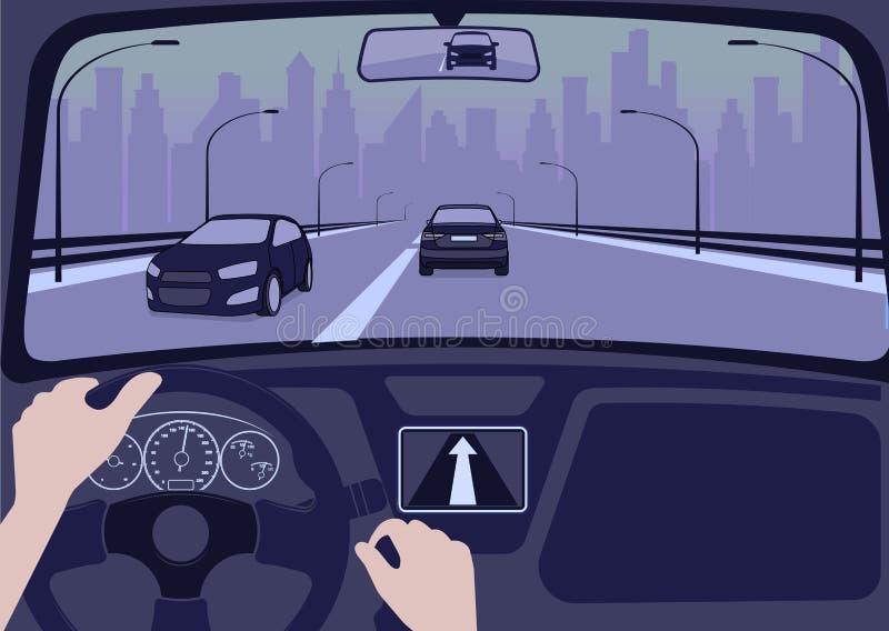 Sikt av vägen från den inre vektorillustrationen för bil royaltyfri illustrationer