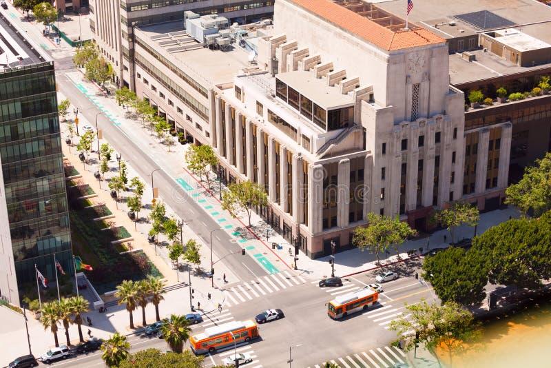 Sikt av vårgatan och byggnader i Los Angeles royaltyfri foto