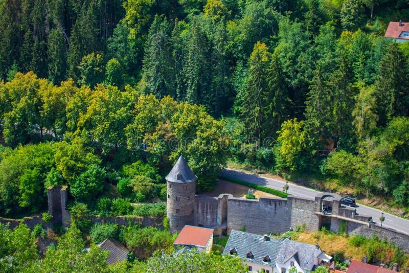 Sikt av v?ggen av den Vianden slotten och hus i skogen och berget i Vianden, Luxembourg royaltyfri bild
