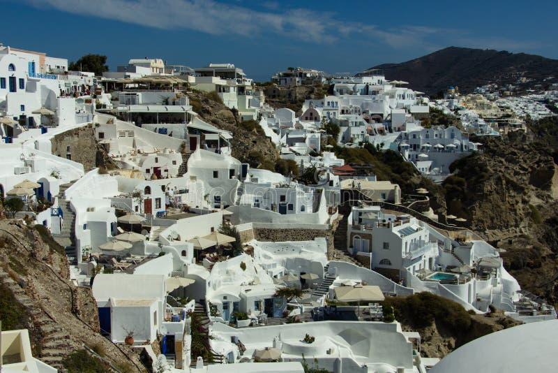 Sikt av Vita Husen av Santorini arkivbilder
