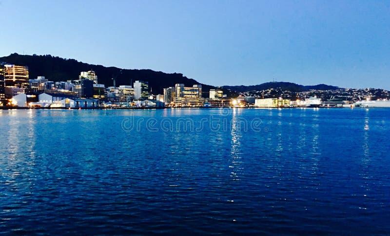 Sikt av Wellington Harbor arkivfoton