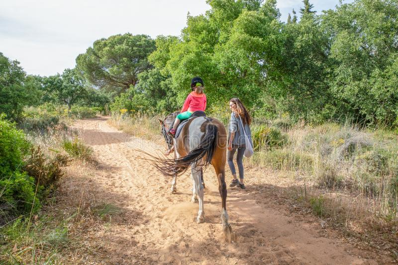 Sikt bakifrån av lilla flickan som därefter rider en häst i en skog arkivfoto
