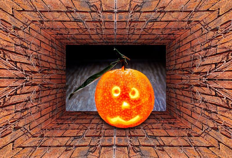 sikt 3D av den gamla tunnelen med tegelstenväggen, den torra murgrönan och den glödande halloween mandarinen på trätabellen arkivfoton
