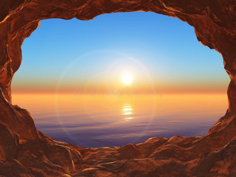 sikt 3D från en grotta som ut ser till ett solnedgånghav royaltyfri illustrationer