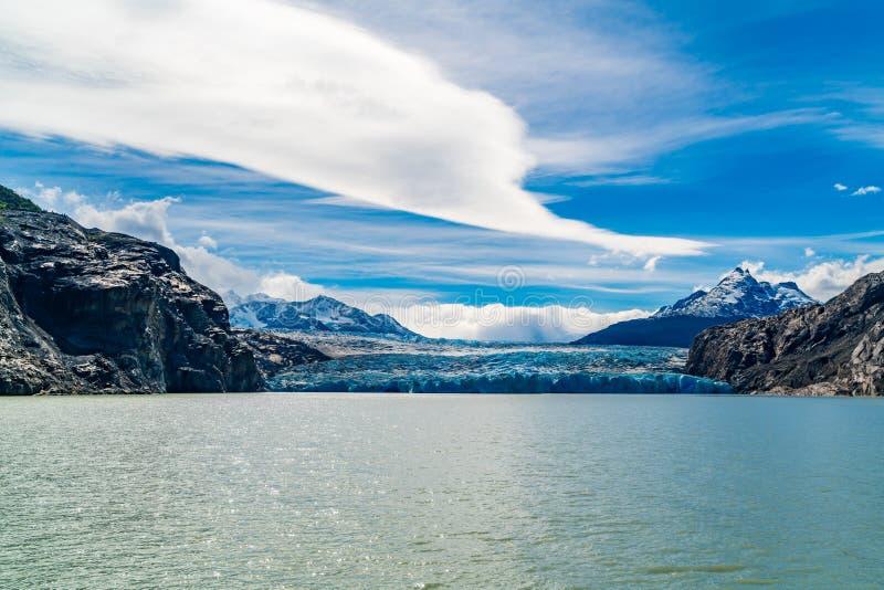 Sikt DSC03962 av Grey Glacier och Grey Lake i den Torres del Paine nationalparken royaltyfri bild