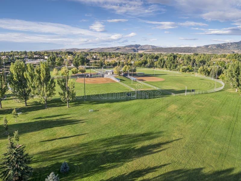 Sikt för aerail för baseballfält royaltyfria bilder
