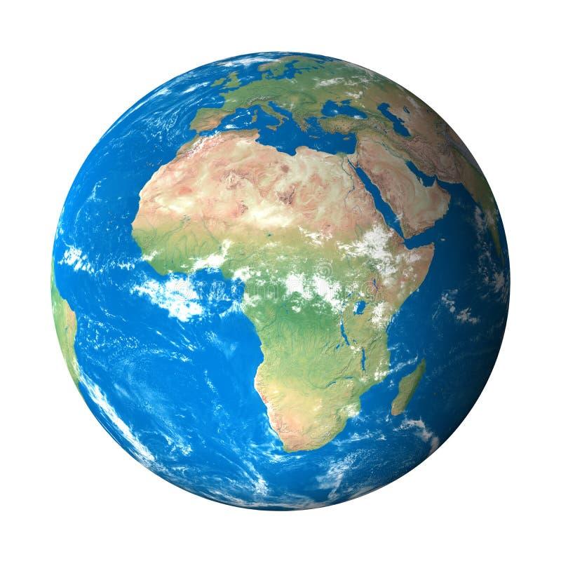 sikt för avstånd för africa jordmodell stock illustrationer