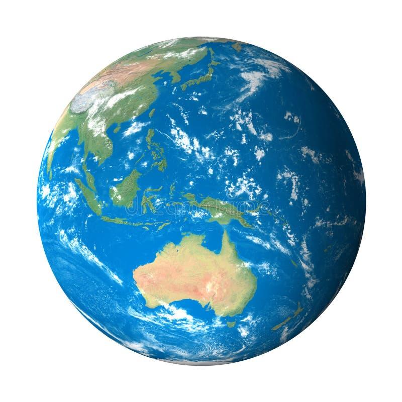 sikt för avstånd för Australien jordmodell vektor illustrationer