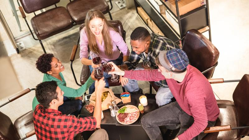 Sikt för bästa sida av mång- ras- vänner som smakar rött vin på vinodlingstången arkivfoto