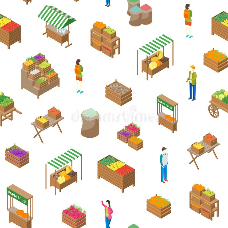 Sikt för bakgrund 3d för modell för lokal marknad för lantgård sömlös isometrisk vektor royaltyfri illustrationer