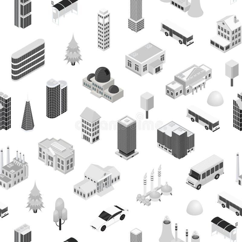Sikt för bakgrund 3d för modell för stadsöversiktsbegrepp sömlös isometrisk vektor stock illustrationer