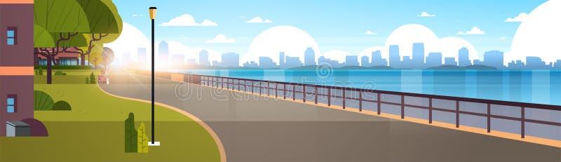 Sikt för bakgrund för skyskrapor för cityscape för modern kaj för stad tom stads- av vägfloden och i stadens centrum ottasoluppgå vektor illustrationer