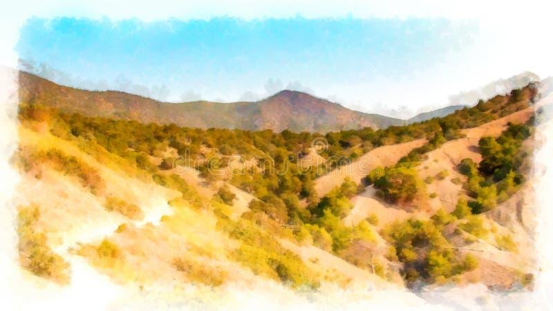 Sikt för bakgrundsvattenfärgmålning av berglandskapet arkivfoton