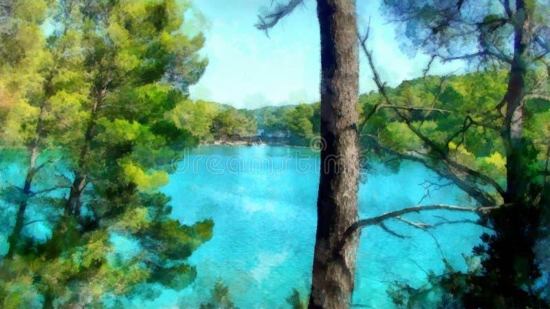 Sikt för bakgrundsvattenfärgmålning av sjölandskapet stock illustrationer