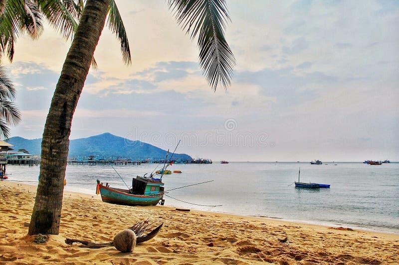 Sikt för Beachcoconut fiskebåthimmel royaltyfria bilder