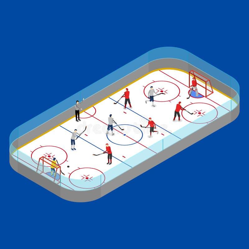 Sikt för begrepp 3d för ishockeyarenakonkurrens isometrisk vektor stock illustrationer