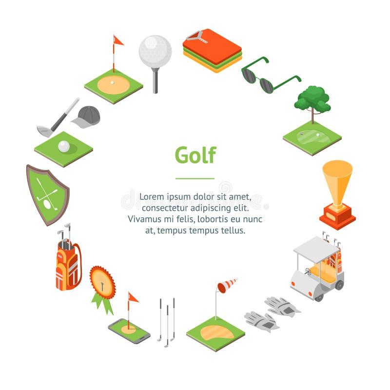 Sikt för cirkel för kort för baner för modig utrustning för golf isometrisk vektor vektor illustrationer