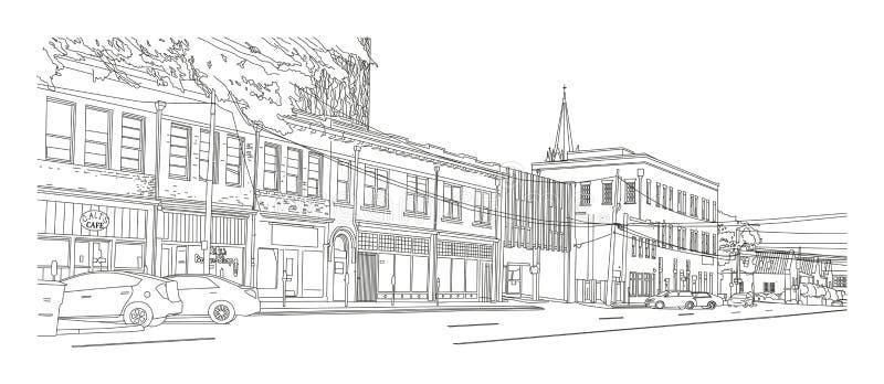 """Sikt för Columbia SC-†""""på Taylor Street vektor illustrationer"""