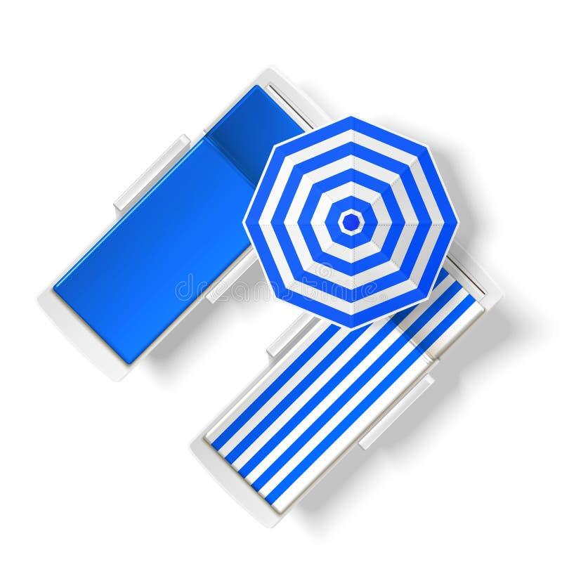 Sikt för dagdrivare för strand för vektorsolparaply bästa stock illustrationer