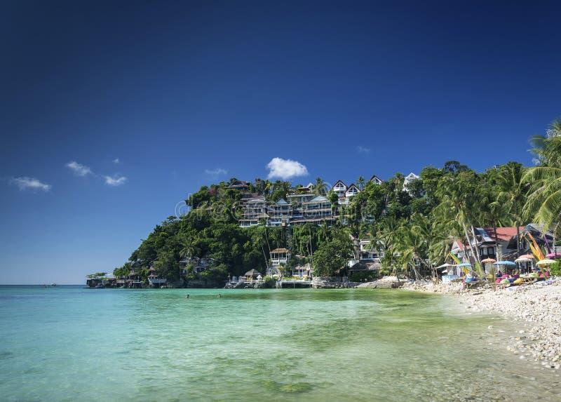 Sikt för Diniwid semesterortstrand i den tropiska paradisboracay ön philippines arkivfoton