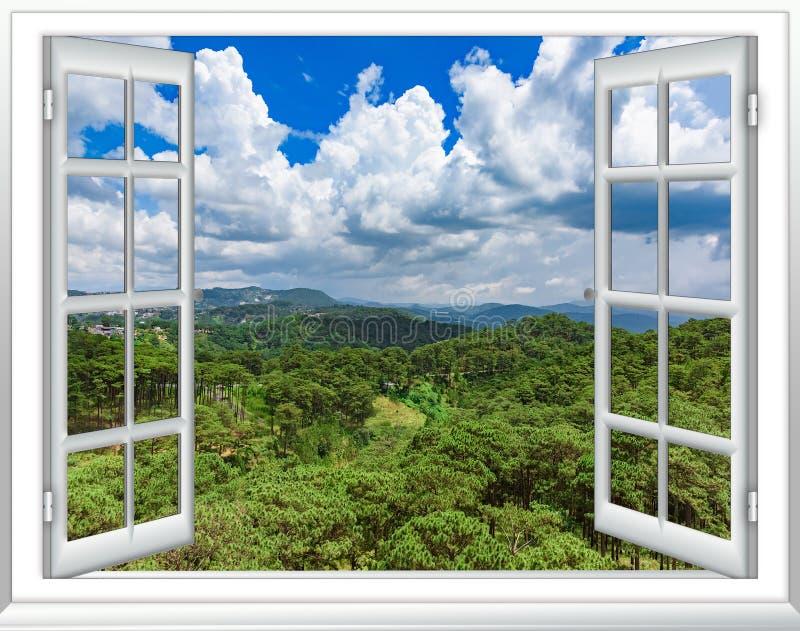 Sikt för djungelsikt uppifrån från fönstret royaltyfri illustrationer