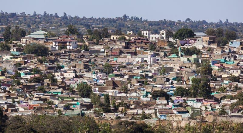 Sikt för fågelöga av staden av Jugol Harar ethiopia royaltyfria bilder
