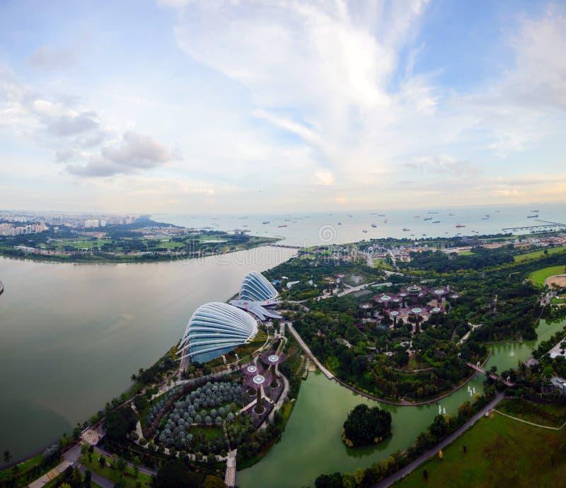 Sikt för fågelögon av Singapore stadshorisont i Singapore royaltyfri bild