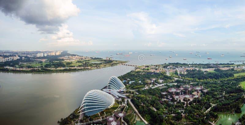 Sikt för fågelögon av Singapore stadshorisont i Singapore arkivbilder