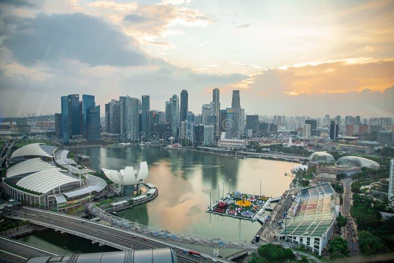 Sikt för fågelögon av Singapore stadshorisont i Singapore arkivbild